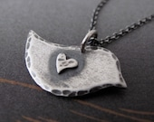 Little bird Necklace - sterling silver peace dove - rustic patina