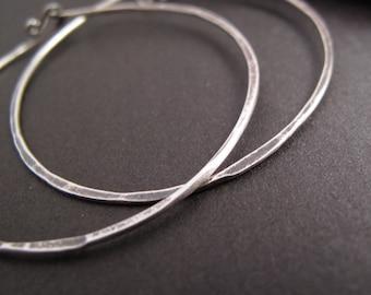 rustic sterling silver hoops oxidized hammered hoop earrings