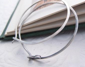 Happy Hoops - 18 gauge hammered sterling silver hoop earrings - organic rustic boho for her