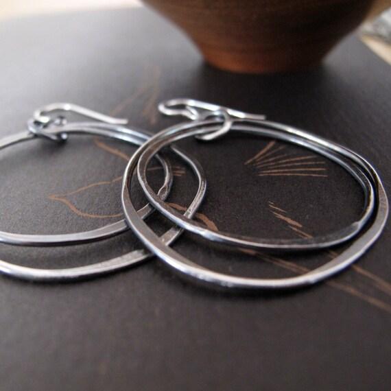 modern hoop dangle earrings hammered sterling silver