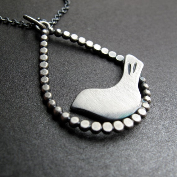 Modern Bird perched in a Raindrop - sterling silver necklace