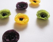 Poppy Fabric Applique - 6 Handmade Mini Poppy Flowers in Green, Yellow and Violet