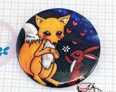 Fox in love 2.5 Inch Pocket Mirror Featuring Original Illustration