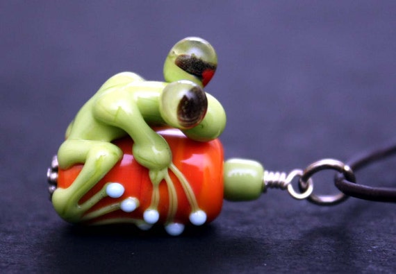 Jacinda the Green Glass Frog Bead Pendant on Brown Leather Necklace