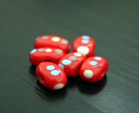 Pill Shape Dotted Retro Red Lampwork Beads