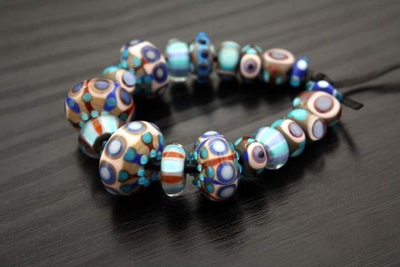 Set of Blues and Grays Handmade Artisan Lampwork Beads