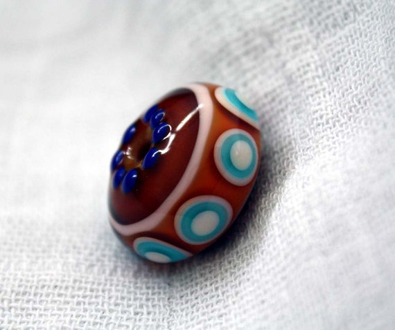 Brown and Blue Round Lampwork Focal Bead