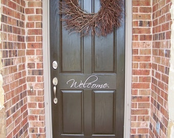 Welcome door vinyl wall decals stickers words lettering