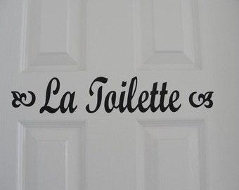 La Toilette vinyl door decal