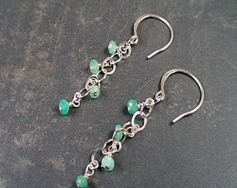 Evangeline Earrings - Chrysoprase and Sterlng Silver