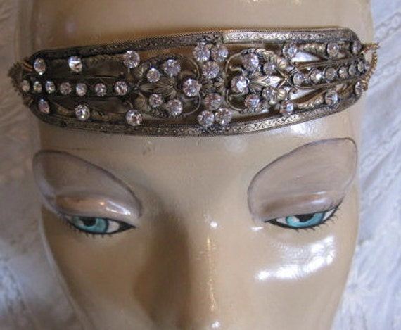 Stunning 1920s Flapper Brass Rhinestone Paste Headband, Headpiece, Unusual, Beautiful Patina