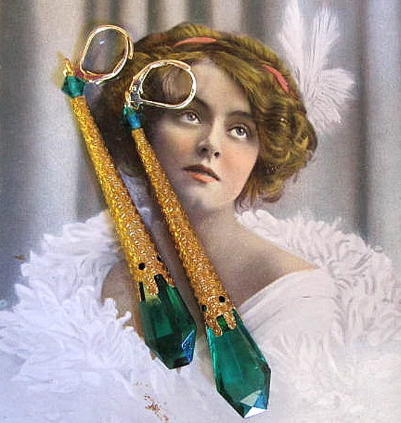 Art Deco Czech Glass and Late 1800s French Brass Aiglette, Aglet Earrings...Classic Beauty, Tantalizing Teal