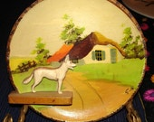 Vintage Home Decor  Wall Hanging  Wooden 3D Plate  Mans Best Friend Wall Plate