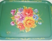 Vintage Tin Oblong Serving Tray w Bouquet of Mixed Flowers