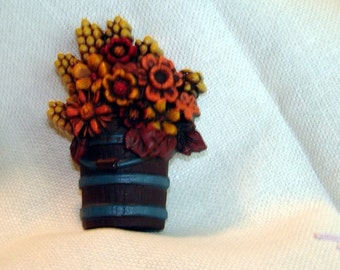 Vintage Jewelry Thanksgiving  Brooch Fall Flowers Rustic Colors Holiday Brooch
