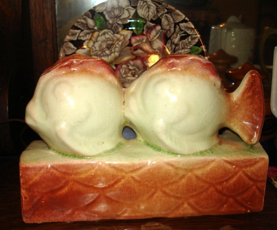 American Art Pottery Double Fish TV Lamp Vintage