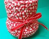 Rag Basket Flower Vase Valentine Red with white hearts