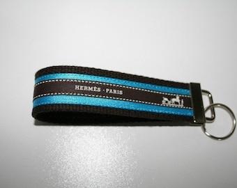 Vintage Hermes Ribbon Key Fob  Key Chain   Wristlet  Key Holder Brown and Teal