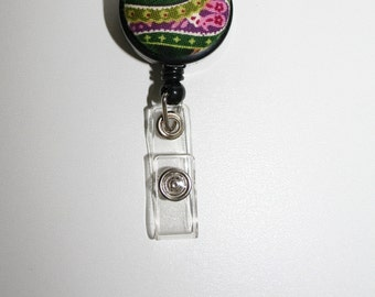 Green Paisley  Retractable Badge  ID Holder