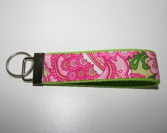 Narrow Pretty in Pink Key Fob Keychain Wristlet