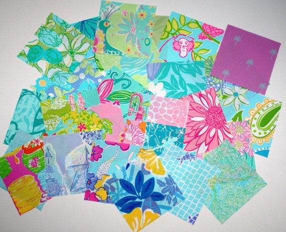 Wonderful Assortment 25  squares of Lilly Pulitzer 100 percent Cotton Fabric 6 inch by 6 inch squares   Lot 3
