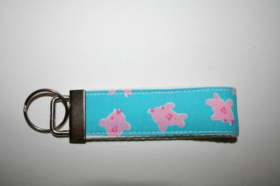 Little Fishies  Lilly Pulitzer signature fabric Keychain  Key Fob