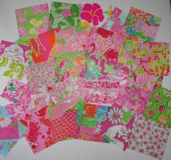 Lilly Pulitzer  Fabric 6 inch by 6 inch 25  squares Lot 1