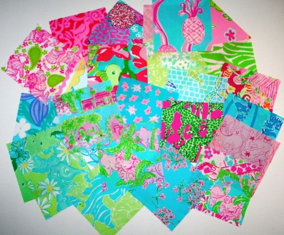 Lot 2  Lilly Pulitzer Colorful and Bright Fabric Lot of 25 squares 6 inch by 6 inch 100 percent cotton