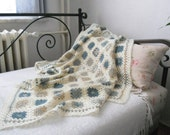 Sand, Sea and Shell Colour Nantucket Style Lap Blanket or Throw in fine wool blend, crochet