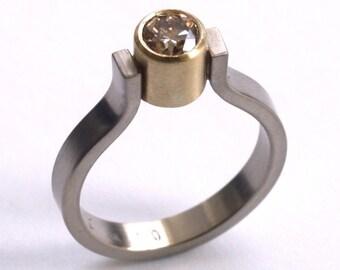 White and Yellow Gold .50ct Diamond Engagement Ring
