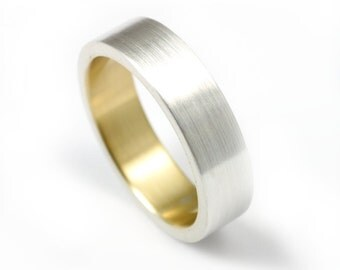 Silver and Yellow Gold Wedding Ring