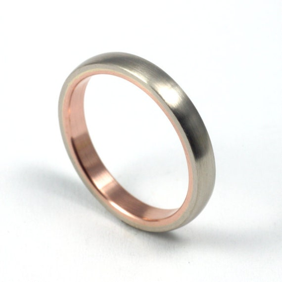 Women's White Gold and Rose Gold Wedding Band - Seamless