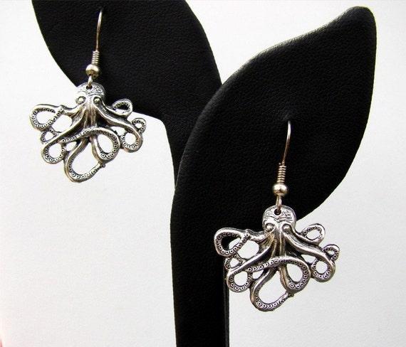 Little Silver Octopus Earrings