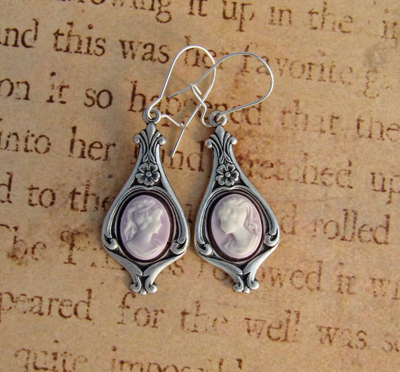 Victorian Woman Violet Cameo Earrings Sterling