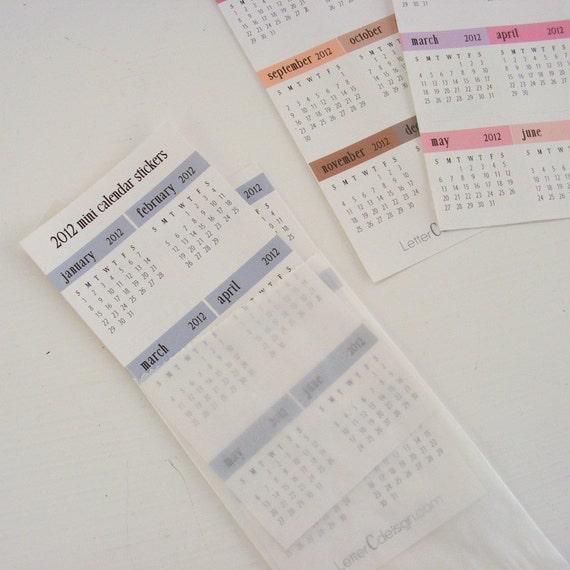 2012 Mini Calendar Stickers