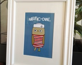 "Nautic-Owl Art Print - 5x7"" Digital Illustration - Nautical Bird"