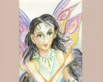 Fairy sweet pea (Original watercolor pencil painting)