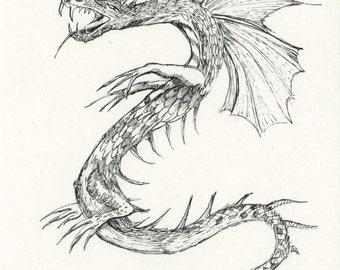 Snake Dragon...original pen drawing