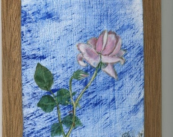 Acrylic painting Rose in Rain