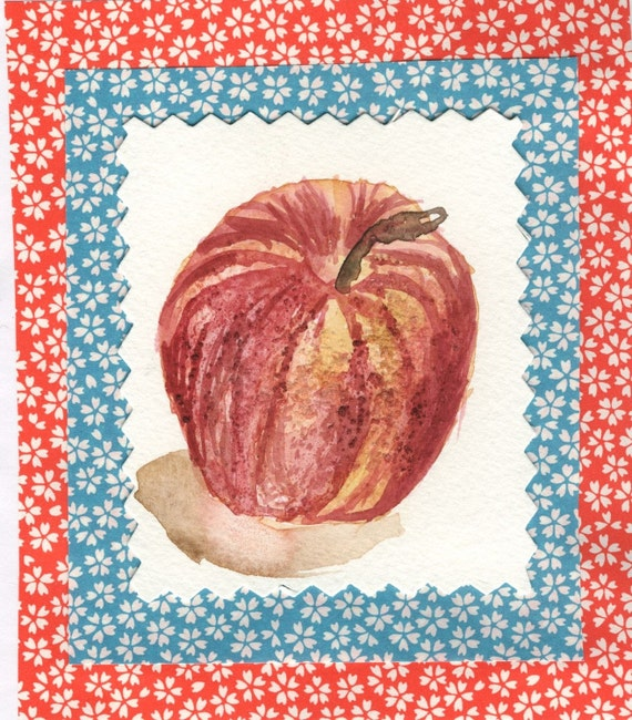 Watercolor card RoyalGala Apple
