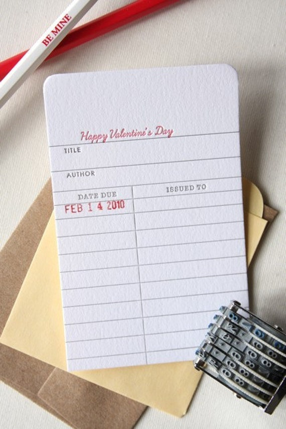 letterpress library card - happy valentine's day