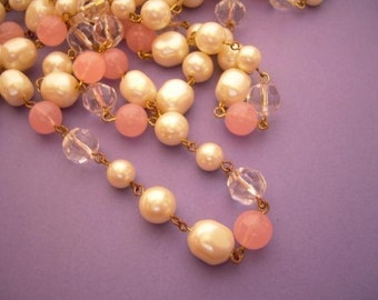 3 FT Vintage Lucite Baroque Pearl Bead Chain - Pink