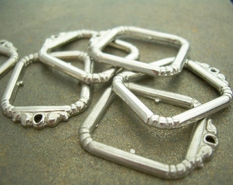 12 Silver Frame Charms or Settings - Vintage Pendants
