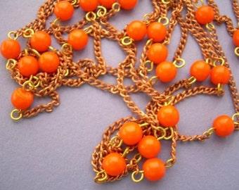 3 Ft Vintage Copper Orange Bead Chain