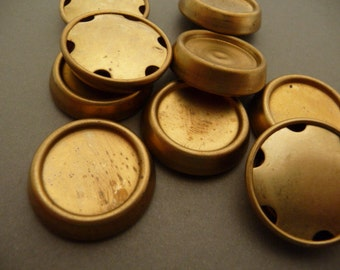 6 Vintage Brass Button 20mm Setting