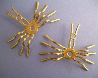 4 Spiders - Settings - Raw Brass Steampunk Pendant