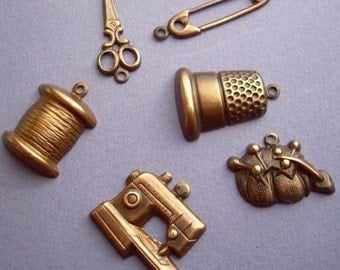 6 Antique Brass Sewing Charms Assorted