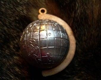 Vintage Mixed Metal Globe Earth Charm Pendant - Rare