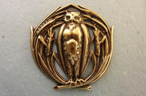 Vintage Huge Owl Pendant - Charm Stamping - Antique Brass