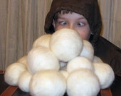 Snowball's Chance In . ..  Indoor Snowball Fight - Needle Felted Large Snowballs